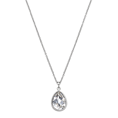 Kistanio Damen Halskette mit Anhänger Brilliant Drop Choker Silber KIS-NECK-BRILLDR-SI