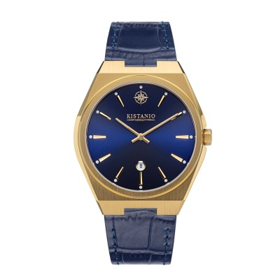 Kistanio Milano Herrenuhr mit Echtlederarmband 10ATM Saphirglas Vergoldet Blau GO-BL-L-BL
