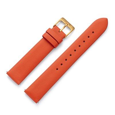 Kistanio 18 mm Uhrenarmband in Orange aus Echtleder mit Edelstahl Dornschließe LB-ORN-18-GO