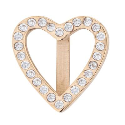 Kistanio Charm für Mesharmband - Brilliant Herz Champagnerfarben