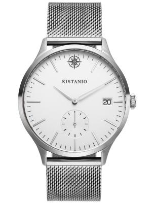 Kistanio Stratolis Herrenuhr mit Milanaiseband Analog Saphirglas Steel Silber Mesh STR-40-128
