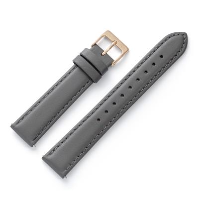 Kistanio 16 mm Uhrenarmband in Grau aus Echtleder mit Edelstahl Dornschließe LB-GR-16-CH