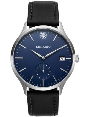 Kistanio Stratolis Herrenuhr mit Lederband Analog Saphirglas Steel Blau STR-40-067