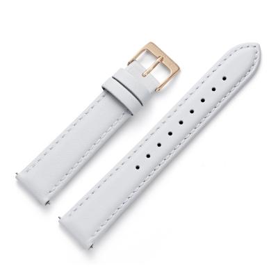 Kistanio 16 mm Uhrenarmband in Weiß aus Echtleder mit Edelstahl Dornschließe LB-WH-16-CH