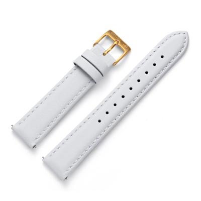 Kistanio 18 mm Uhrenarmband in Weiß aus Echtleder mit Edelstahl Dornschließe LB-WH-18-GO