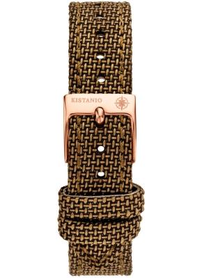 Kistanio 16 mm breites Canvas Lederarmband Braun mit rosevergoldeter Schließe ST-16-CA-BRO-RG