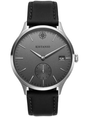 Kistanio Stratolis Herrenuhr mit Lederband Analog Saphirglas Steel Silbergrau STR-40-061