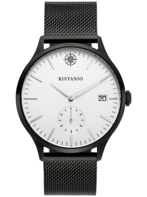Kistanio Stratolis Herrenuhr mit Milanaiseband Analog Saphirglas Black Silberfarben Mesh STR-40-116