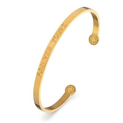 KISTANIO Damen Armreif mit graviertem Spruch - Goldfarben - 20 verschiedene Gravuren wählbar