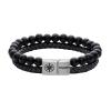 Kistanio Leder Armband Onyx Schwarz Silber KIS-MBRA-L-ONY-B-S-20