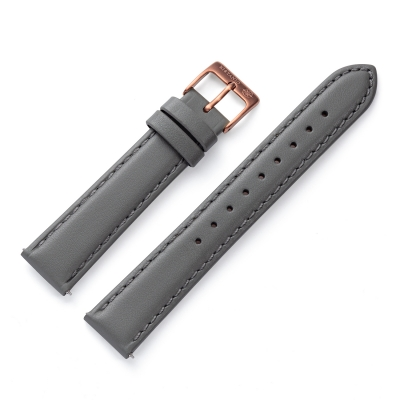 Kistanio 16 mm Uhrenarmband in Grau aus Echtleder mit Edelstahl Dornschließe LB-GR-16-MO