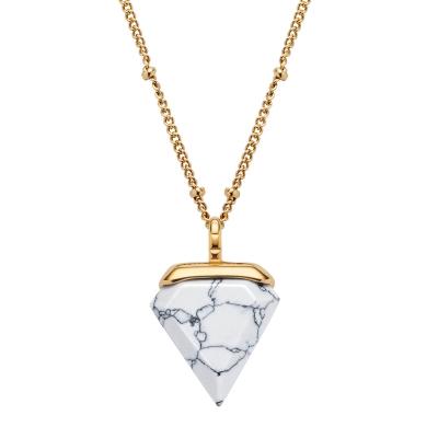 Damenkette Trigon Weiß Marmor Gold