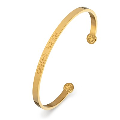 KISTANIO Damen Armreif mit graviertem Spruch - Goldfarben - 19 verschiedene Gravuren wählbar
