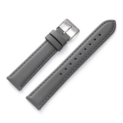Kistanio 18 mm Uhrenarmband in Grau aus Echtleder mit Edelstahl Dornschließe LB-GR-18-SI