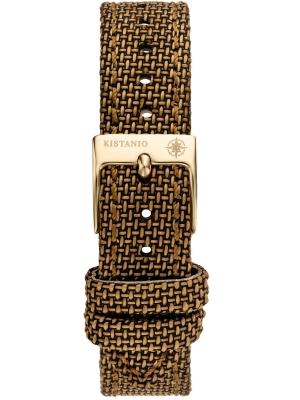 Kistanio 16 mm breites Canvas Lederband Braun mit champagnerfarbener Schließe ST-16-CA-BRO-CHA