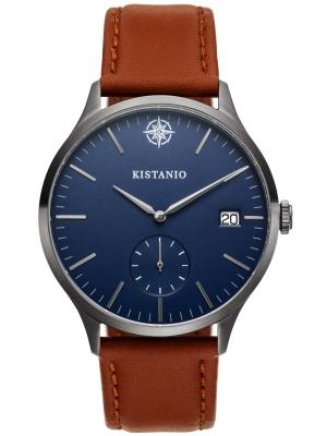Kistanio Stratolis Herrenuhr mit Lederband Analog Saphirglas Gunmetal Blau STR-40-104