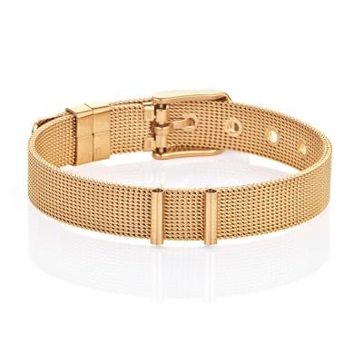 Kistanio Damen Mesh Charmband Goldfarben mit Dornschließe