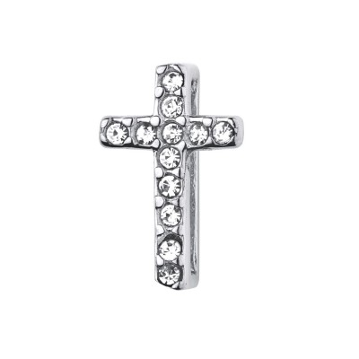 Kistanio Kreuz Charm Silberfarben mit Zirkonia für Mesh Charmband