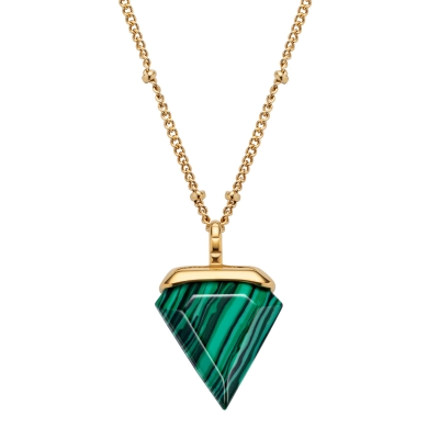 Kistanio Damen Halskette Trigon Grün Goldfarben KIS-NECK-TRI-GRN-GO