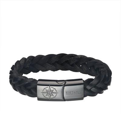 Kistanio Männer Armband Schwarz/Grau in 4 Längen - Lederarmband Geflochten mit Magnetverschluß