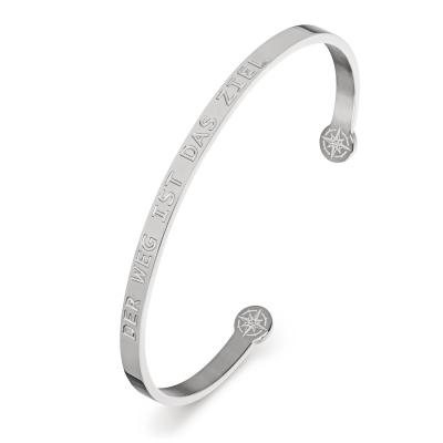 KISTANIO Damen Armreif mit graviertem Spruch - Silberfarben - 19 verschiedene Gravuren wählbar