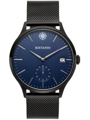 Kistanio Stratolis Herrenuhr mit Milanaiseband Analog Saphirglas Black Blau Mesh STR-40-115