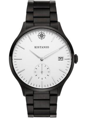 Kistanio Stratolis Herrenuhr mit Edelstahlarmband Analog Saphirglas Black Silber STR-40-010