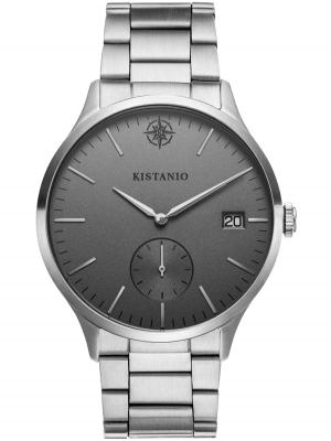 Kistanio Stratolis Herrenuhr mit Edelstahlarmband Analog Saphirglas Steel Silbergrau STR-40-064