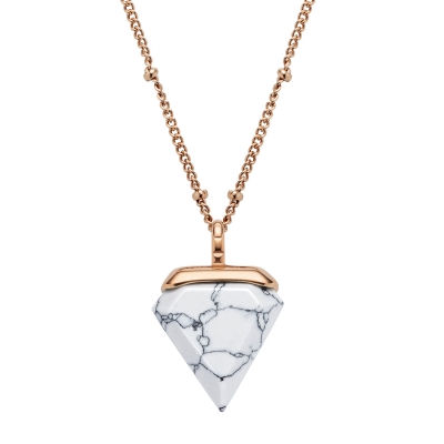 Kistanio Damen Halskette Trigon Weiß Rosegoldfarben KIS-NECK-TRI-WH-RG