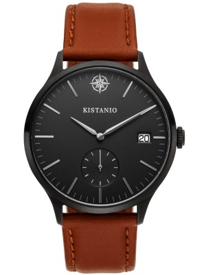 Kistanio Stratolis Herrenuhr mit Lederband Analog Saphirglas Black Schwarz STR-40-097
