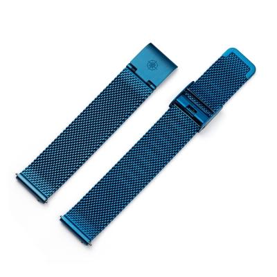 Kistanio 16 mm Milanaiseband aus Edelstahl Druckverschluß Meshband Farbe : Blau