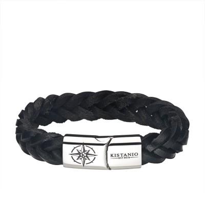 Kistanio Männer Armband Schwarz/Silber in 4 Längen - Lederarmband Geflochten mit Kompass Gravur und