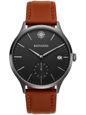 Kistanio Stratolis Herrenuhr mit Lederband Analog Saphirglas Gunmetal Schwarz STR-40-101