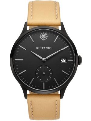 Kistanio Stratolis Herrenuhr mit Lederband Analog Saphirglas Black Schwarz STR-40-003