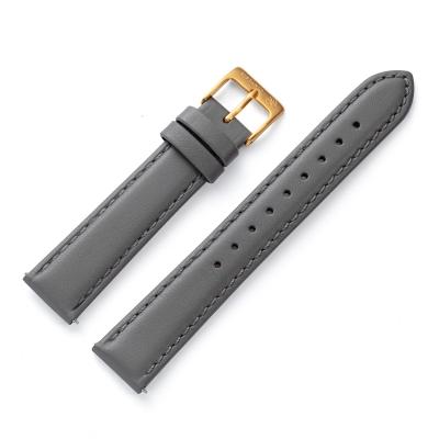 Kistanio 16 mm Uhrenarmband in Grau aus Echtleder mit Edelstahl Dornschließe LB-GR-16-GO