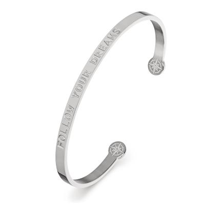 KISTANIO Damen Armreif mit graviertem Spruch - Silberfarben - 20 verschiedene Gravuren wählbar