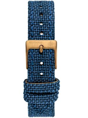 Kistanio 16 mm breites Canvas Lederarmband Blau mit khakifarbener Schließe ST-16-CA-CB-KH