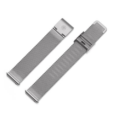 Kistanio 16 mm Milanaiseband aus Edelstahl Druckverschluß Meshband Farbe : Silber
