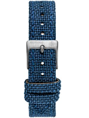 Kistanio 16 mm breites Canvas Lederarmband Blau mit Edelstahlschließe ST-16-CA-CB-SI