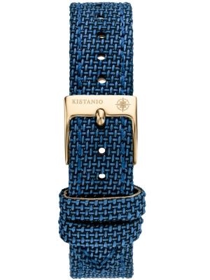 Kistanio 16 mm breites Canvas Lederarmband Blau mit champagnerfarbener Schließe ST-16-CA-CB-CH