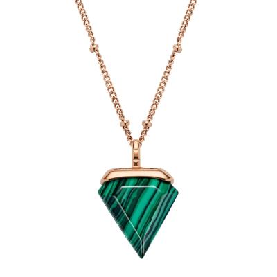 Kistanio Damen Halskette Trigon Grün Rosegoldfarben KIS-NECK-TRI-GRN-RG
