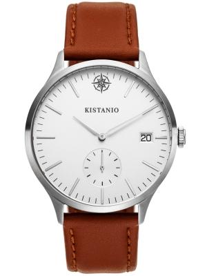Kistanio Stratolis Herrenuhr mit Lederband Analog Saphirglas Steel Silberfarben STR-40-106