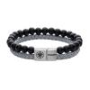 Kistanio Leder Armband Onyx Schwarz Grau Silber KIS-MBRA-L-ONY-G-S-22