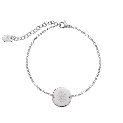 Kistanio Damen Armkette aus Edelstahl mit Rundem Coin Anhänger Silberfarben