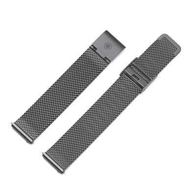 Kistanio 16 mm Milanaiseband aus Edelstahl Druckverschluß Meshband Farbe : Gunmetal
