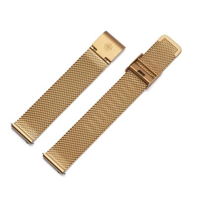 Kistanio 20 mm Milanaiseband aus Edelstahl Druckverschluß Meshband Farbe : Khaki