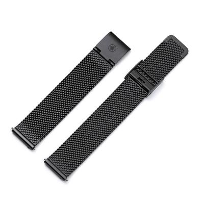 Kistanio 20 mm Milanaiseband aus Edelstahl Druckverschluß Meshband Farbe : Schwarz