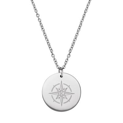 Kistanio Elegante Damenhalskette aus Edelstahl mit Kompass Coin Anhänger Silberfarben
