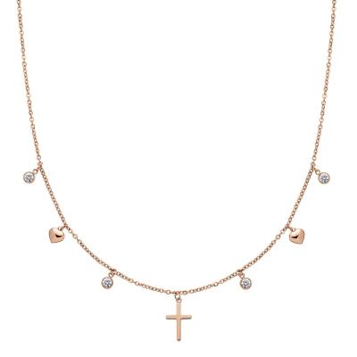 Damenkette Cross Pendant Choker Rose